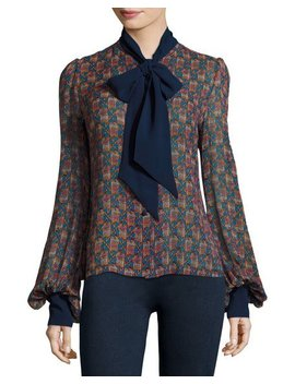 Geometric Print Tie Neck Silk Shirt by Talitha Collection