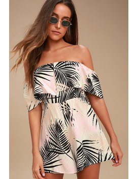 Isla Cream Tropical Print Off The Shoulder Romper by Minkpink