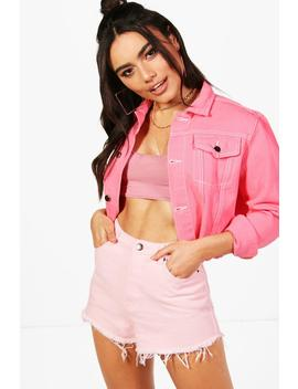 Clara Pink Cropped Contrast Stitch Denim Jacket by Boohoo