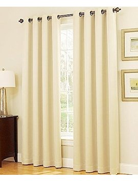 """Gorgeous Home (#32) 1 Panel Solid Ivory Beige Thermal Foam Lined Blackout Heavy Thick Window Treatment Curtain Drapes Silver Grommets * Available In Different Sizes * (84"""" Length) by Gorgeous Home Linen"""