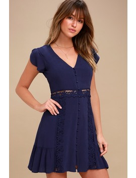 Wistful Wanderer Navy Blue Crochet Lace Dress by Lulus