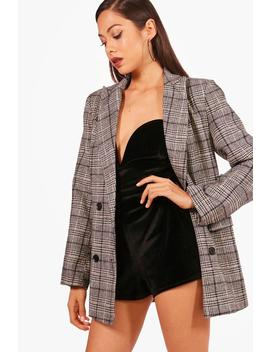 Lola Check Double Breasted Wool Blazer by Boohoo