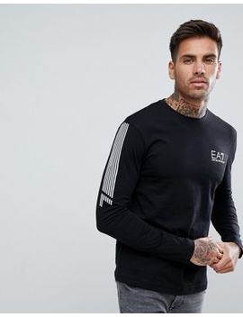 Ea7 Slim Fit Long Sleeve Stripe Top In Black by Ea7