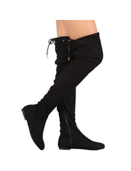 New Vegan Suede Drawstring Tie Lace Up Women Over The Knee Flat Boot Pull On Zip by Nature Breeze