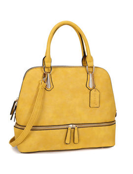 New Women Leather Satchel Handbag Tote Satchel Shoulder Bag Round Zipper Bottom by Dasein