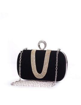 Women's Velvet Clutch Purse Rhinestones Cocktail Evening Bag Ring Buckle Handbag by Unbranded