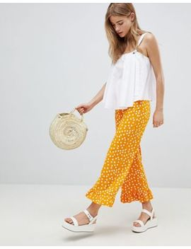Asos Design Pants With Fluted Ruffle Hem In Polka Dot by Asos Design
