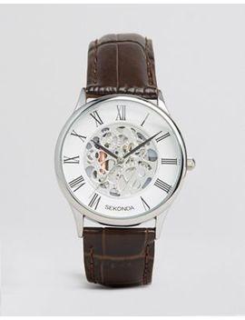 Sekonda Exposed Mechanical Skeleton Leather Watch In Brown Exclusive To Asos by Sekonda
