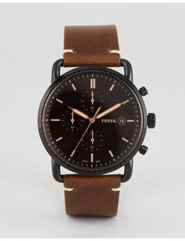 Fossil Fs5403 Commuter Chronograph Leather Watch In Brown 42mm by Fossil