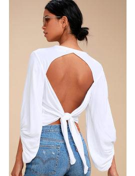 Laraine White Long Sleeve Tie Back Top by Lulu's