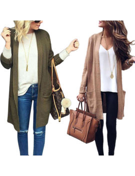 Women Long Sleeve Knitted Cardigan Oversized Slouchy Outwear Sweater Coat Tops by Unbranded