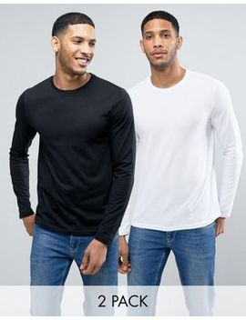 Asos Long Sleeve T Shirt With Crew Neck 2 Pack In Black/White Save by Asos