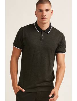 Marled Knit Polo Shirt by F21 Contemporary
