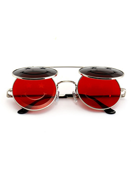 Mincl/ 2018 Hot Sale Steampunk Goth Glasses Turn Round Sunglasses Red Retro Glasses Unisex Fashion For Men And Women Lxl by Woo Shao's Store