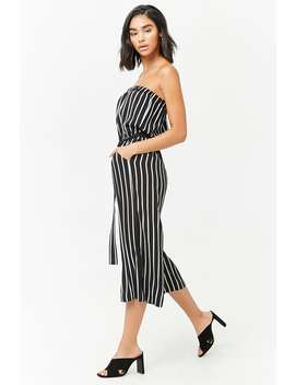 Striped Crepe Capri Jumpsuit by Forever 21