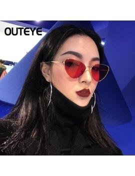 Outeye Cat Eye Women Sunglasses Tinted Color Lens Vintage Shaped Sun Glasses Women Eyewear 70s Luxe Red Female Sunglasses F3 by Shenzhen Bigkeyboard  Co., Ltd.