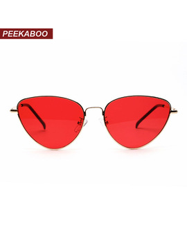 Peekaboo Red Cat Eye Sunglasses Women Clear Lens Sun Glasses For Women Cat Eye Metal Pink Yellow Uv400 by Peekaboo Official Store