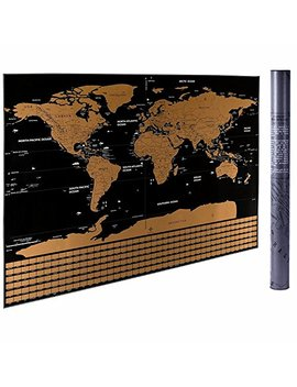 "32.5"" X 23.4"" Scratch Off The World Map, Cnsunway Lighting Travel Map Poster (Black Scratch Off The World Map) by Cnsunway Lighting"