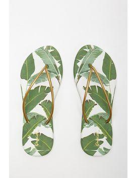Qupid Palm Leaf Flip Flops by Forever 21