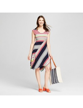 Women's Multi Stripe Handkerchief Hem Dress   Spenser Jeremy   Red/Blue by Spenser Jeremy