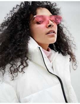 Asos Rimless Cat Eye Fashion Sunglasses In Bright Pink Lens by Asos Collection