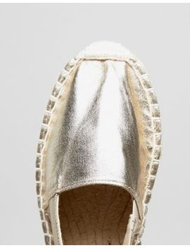Pieces Gold Glitter Espadrilles by Pieces
