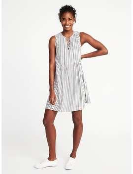 Metallic Stripe Pintuck Swing Dress For Women by Old Navy
