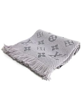 Auth Louis Vuitton Echarpe Logomania M74742 Gris Perle Wool94 Percents, Silk6 Percents Scarf by Louis Vuitton