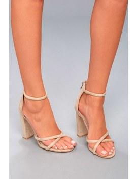 Laney Nude Suede Ankle Strap Heels by Lulu's
