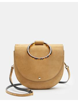 Whitney Shoulder Bag With Resin Hoop In Suede by Theory