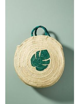 Palm Leaf Circle Tote Bag by Anthropologie