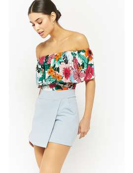 Tropical Print Flounce Bodysuit by Forever 21