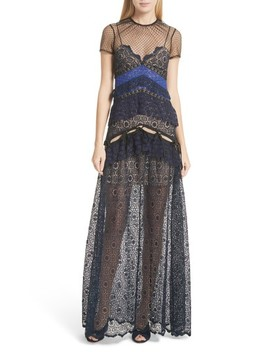 Paneled Lace Maxi Dress by Self Portrait