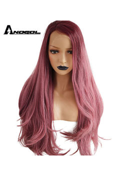Anogol Women Synthetic Ombre Lace Front Wig Wavy Red Long Natural Hairline Wigs by Unbranded/Generic