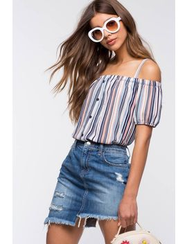 Megan Stripe Cold Shoulder Top by A'gaci