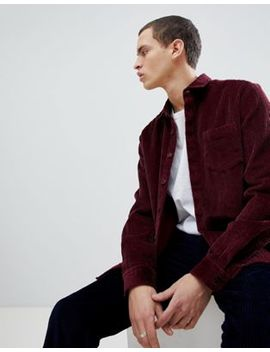 Asos Design Overshirt In Cord In Burgundy by Asos Design