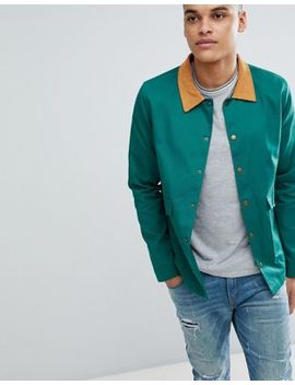 Boohoo Man Trucker Jacket With Cord Collar In Bottle Green by Boohoo Man