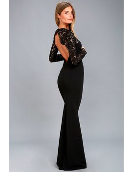 Whenever You Call Black Lace Maxi Dress by Lulu's