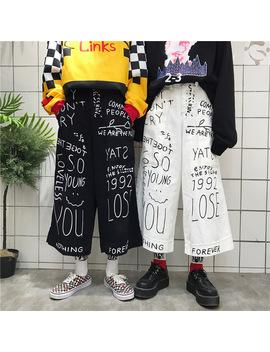 Men's Harajuku Girl Loose Black Denim Pants Korean Funny Graffiti Print Casual Female Cute Japanese Kawaii Trousers For Women by Ali Express