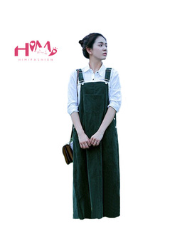 Corduroy Suspender Dress Women's Green Casual Vintage Dress School Girl Looser Winter Strap Dress Fresh Mori Cute Dressing by Ali Express