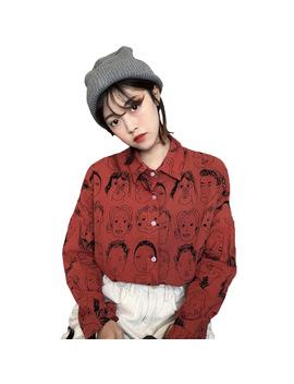 2017 Spring Korean Japanese Fashion Women Shirts Autumn Vintage Print Cartoon Leisure Blouses Funny Graphic Loose Female Tops by Ali Express