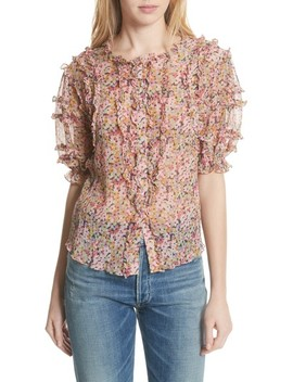 Margo Ruffle Floral Top by Rebecca Taylor