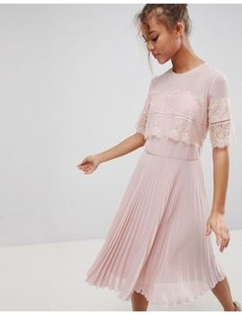 Elise Ryan High Neck Midi Dress With Pleated Skirt by Elise Ryan