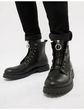 Asos Design Lace Up Boots In Black Leather With Metal Detail by Asos Design