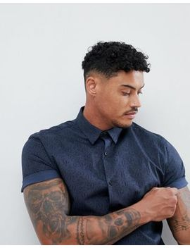 River Island Muscle Fit Shirt In Navy Paisley Print by River Island