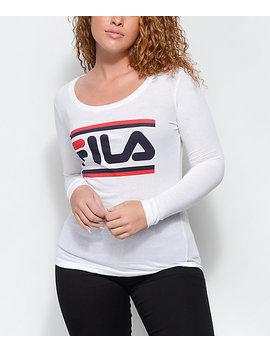 Fila Double Stripe White Long Sleeve T Shirt by Fila