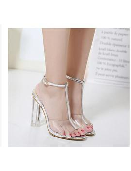 Aneikeh 2018 High Heels Women Shoes Transparent T Strap Women Shoes For Party Pumps Wedding High Heel Ladys Sandals Size 40 42  by Aneikeh   Store