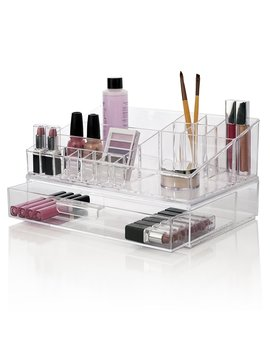 Premium Quality Clear Plastic Cosmetic And Makeup Palette Organizer With 1 Drawer | Audrey Collection by Sto Ri