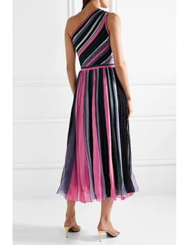 One Shoulder Pleated Metallic Stretch Knit Midi Dress by Missoni