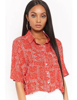Cropped Geo Print Shirt by Forever 21